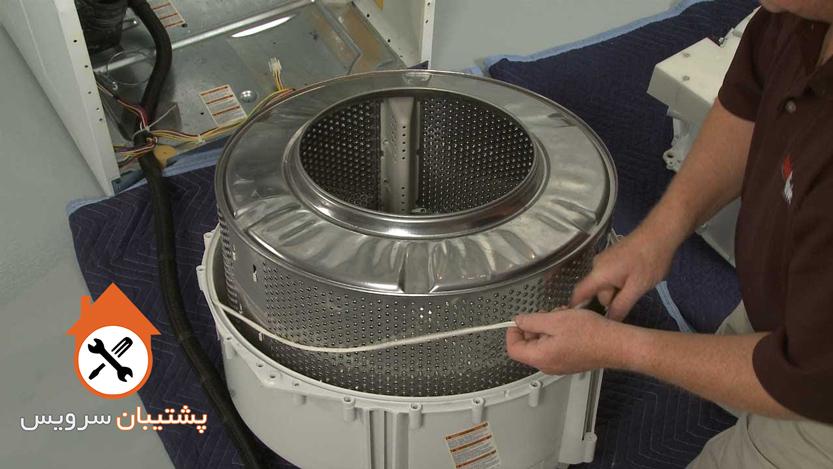 باز کردن دیگ و محفظه شستشوی لباسشویی _ آموزش تعویض بلبرینگ ماشین لباسشویی