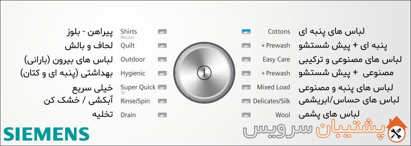 برنامه های ماشین لباسشویی زیمنس