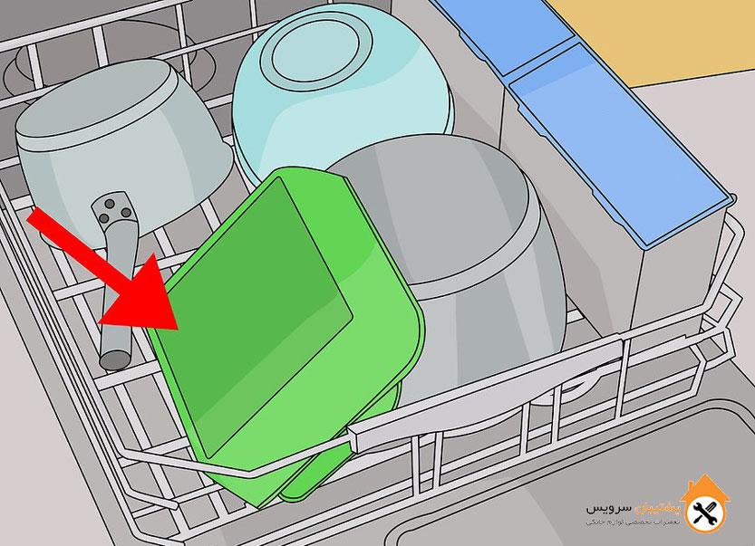 طریقه قرار دادن قابلمه و ماهیتابه داخل ماشین ظرفشویی