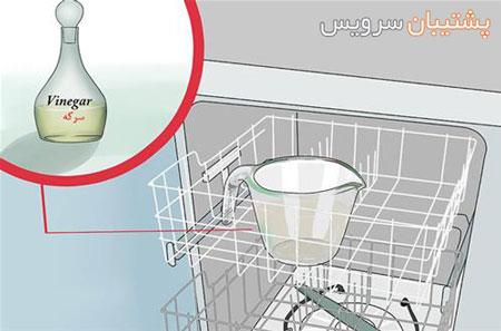 جرم گیری ماشین ظرفشویی با سرکه و جوش شیرین